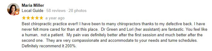 Chiropractic Palatine IL Maria M Testimonial