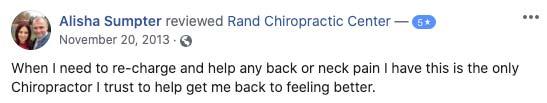Chiropractic Palatine IL Testimonial Rand Chiropractic Center 11 20 2013